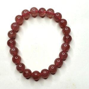 *natural Strawberry Quartz 7mm bead bracelet